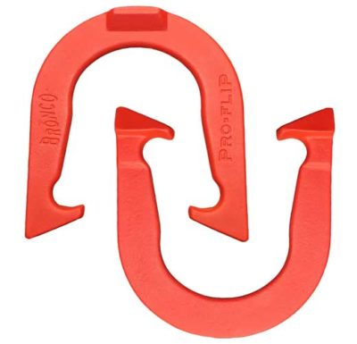 Bronco Red pitching horseshoe