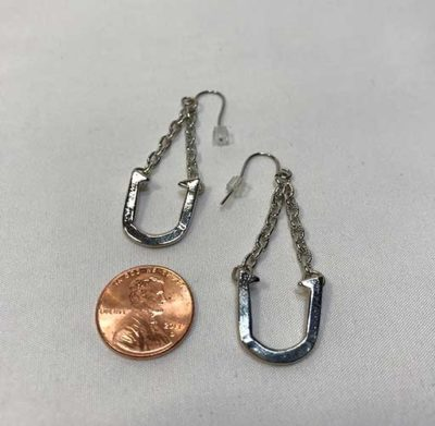 Fashion Horseshoe Chain Earrings - silver