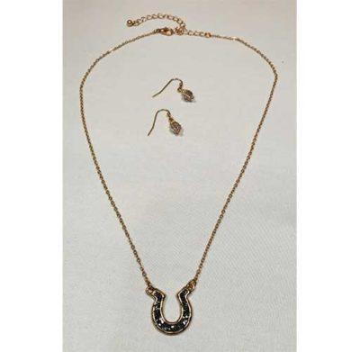 Black Stone Horseshoe NecklaceSet_2