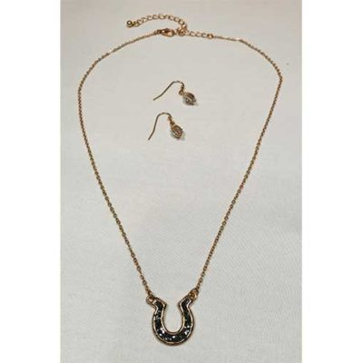 Black Stone Horseshoe Necklace Set
