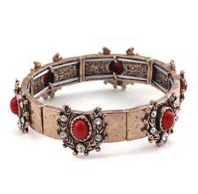 Crystal & Horseshoes Bracelet Coral