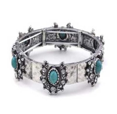 Crystal and horseshoe bracelet - turquoise