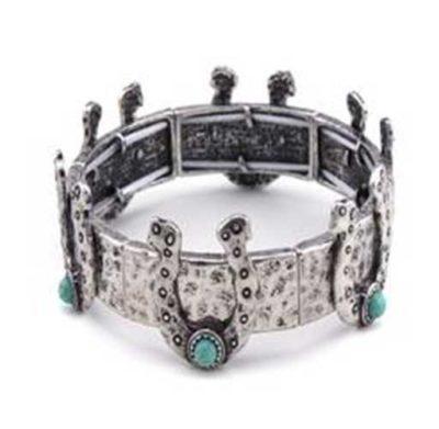 Horseshoe and Turquoise Bracelet Silver