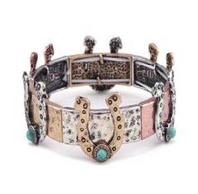 Horseshoes and Turquoise Bracelet Multi