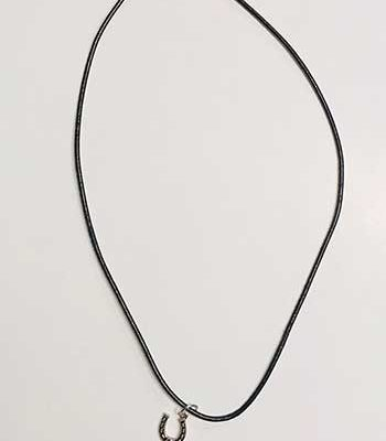 Black Cord Horseshoe Necklace