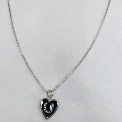 Sterling Silver Black Heart Horseshoe Jewelry