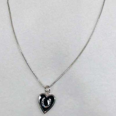 Sterling Silver Black Heart Horseshoe Jewelry
