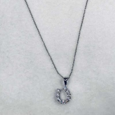 CZ Horseshoe Pendant Necklace