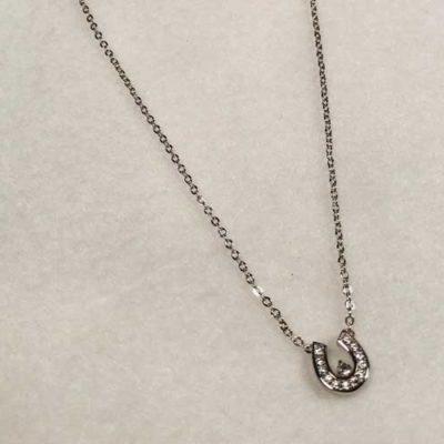 CZ Horseshoe Pendant on 15″ chain